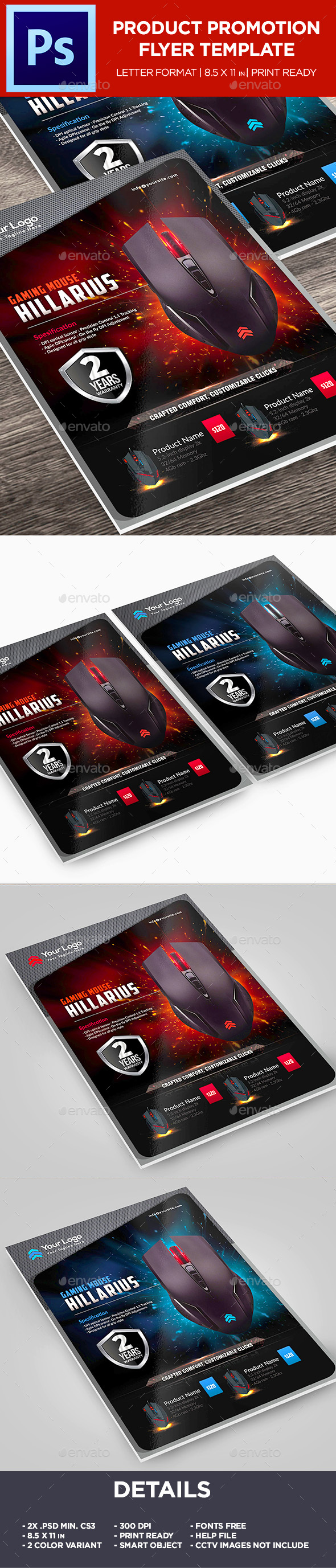 GraphicRiver Gaming Mouse Product Flyer Corporate Promotion Flyer 20657449