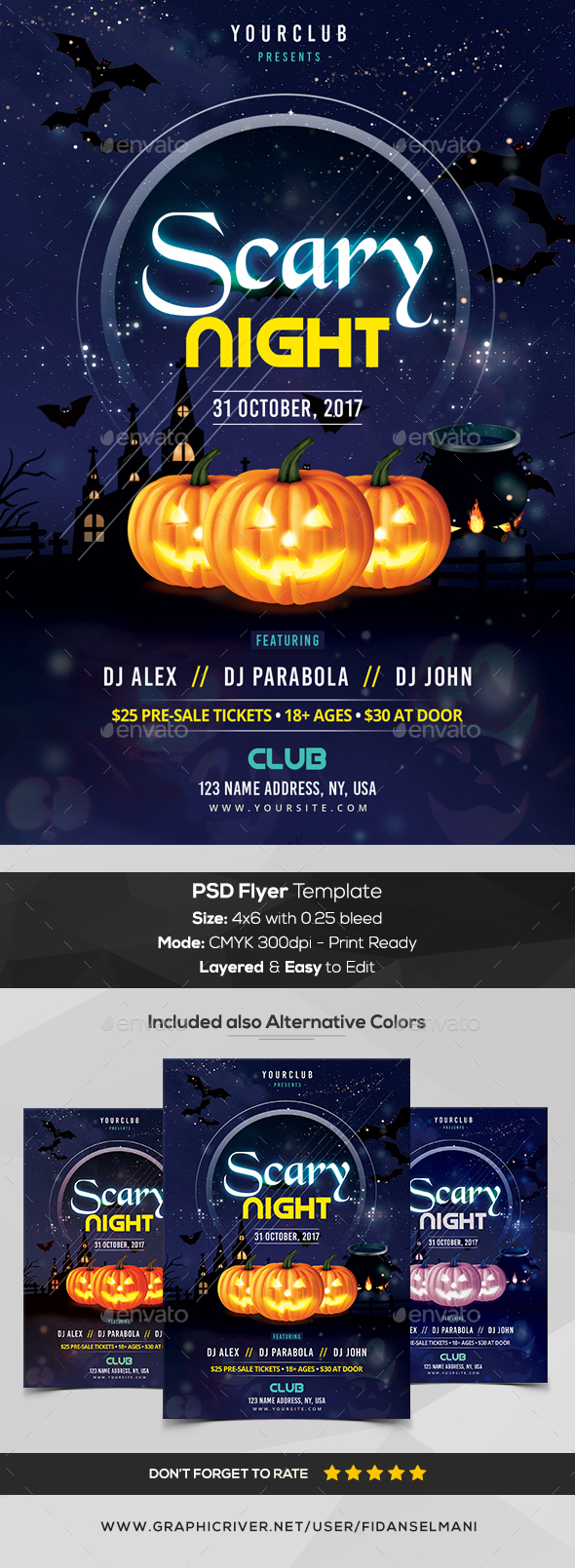 Scary Night - Halloween PSD Flyer - Events Flyers