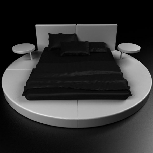 Round Bed Contemporary - 3DOcean Item for Sale