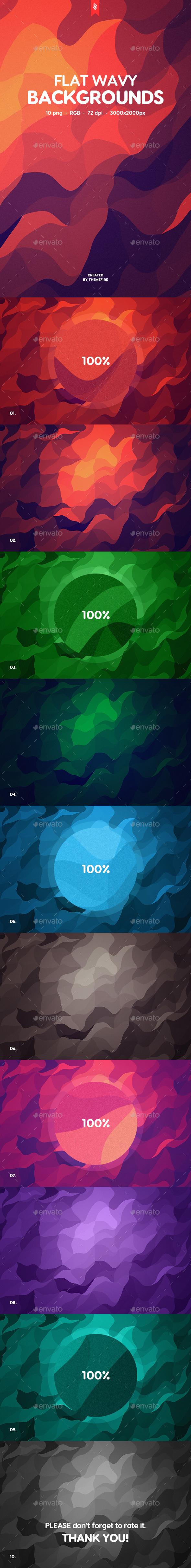 Flat Wavy Backgrounds - Patterns Backgrounds