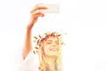 happy young woman taking smartphone selfie - PhotoDune Item for Sale