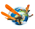 Biplanes flying around the planet Earth