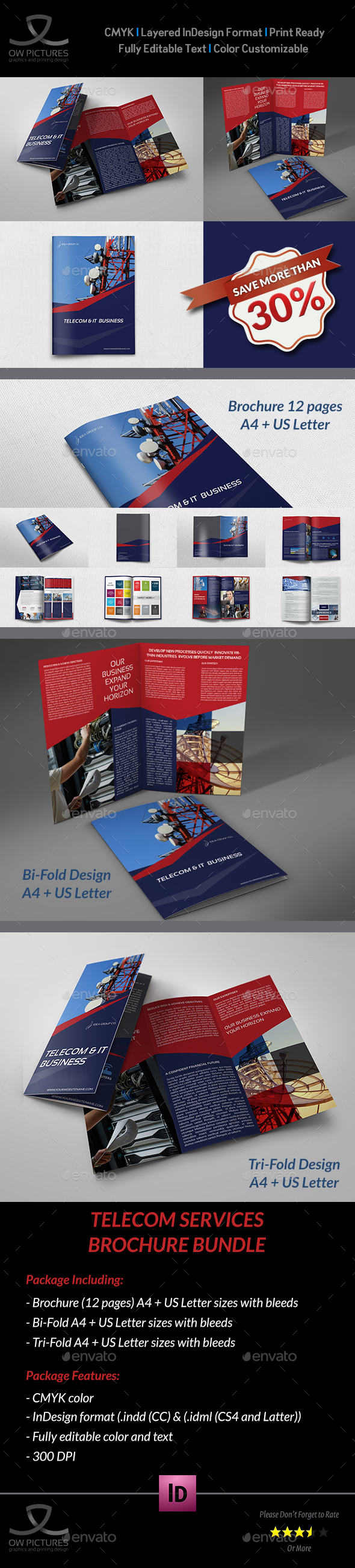 Telecom Services Brochure Bundle Template - Corporate Brochures