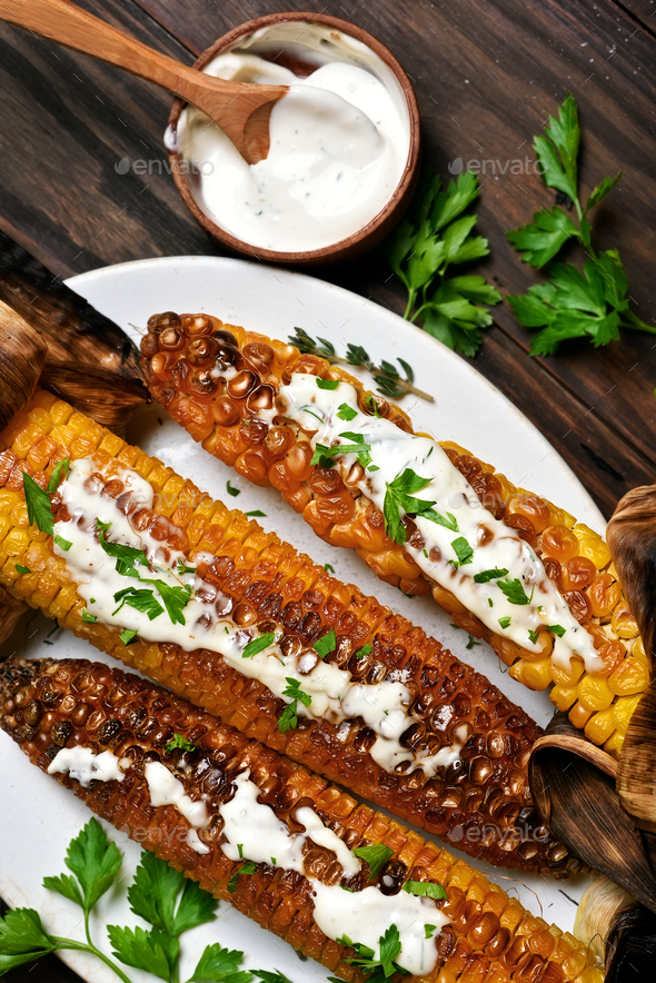Bbq corn, top view - Stock Photo - Images