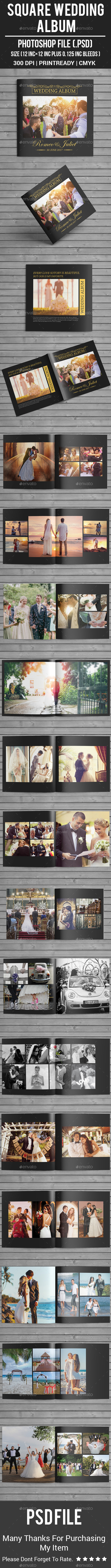 Square Wedding Album - Photo Albums Print Templates
