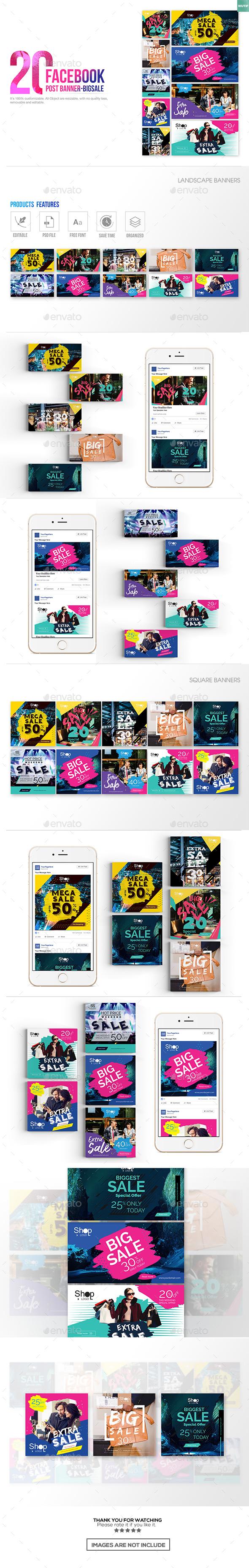 20 Facebook Post Banner - Big Sale - Miscellaneous Social Media