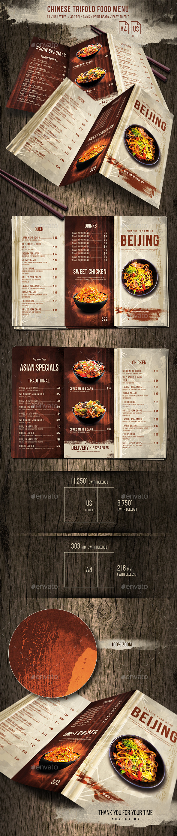 Chinese Trifold A4 & US Letter Food Menu - Food Menus Print Templates