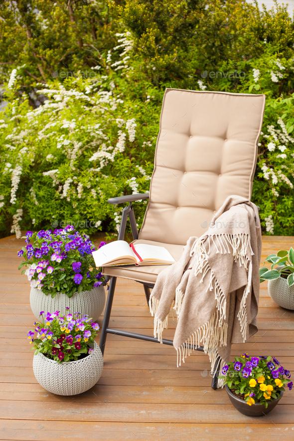 garden chair on terrace in sunlight, flowers  bush - Stock Photo - Images