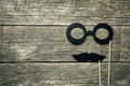 fake glasses and mustaches on sticks