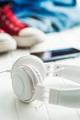 White vintage headphones. - PhotoDune Item for Sale