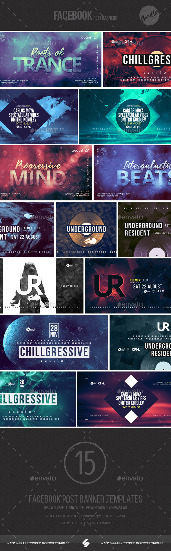 Electronic Music Event Facebook Post Banner Templates Bundle 6 - Social Media Web Elements