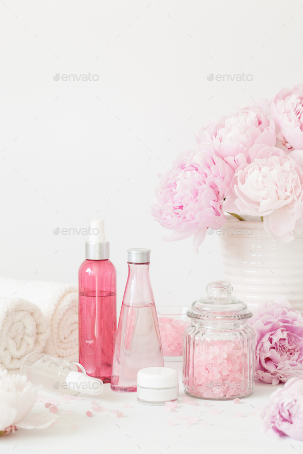 bath and spa with peony flowers beauty products towels - Stock Photo - Images