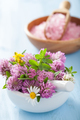 colorful medical flowers and herbs in mortar and pink salt