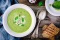 green vegetable cream soup puree with leek and basil - PhotoDune Item for Sale