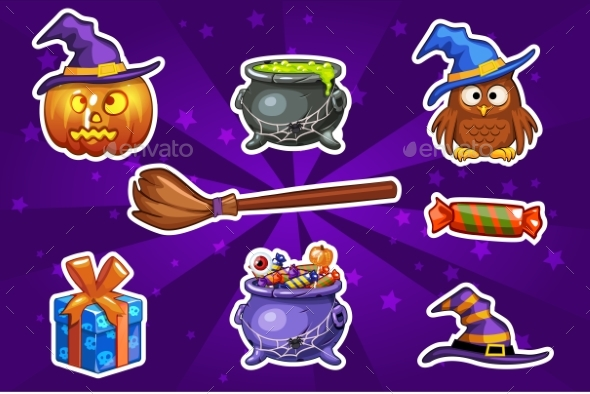 GraphicRiver Funny Cartoon Halloween Sticker Icons 20680439