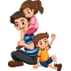 Father with His Kids - GraphicRiver Item for Sale