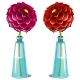 Pink and Red Blooming Dahlia in Glass Vase