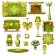 Furniture Green Vintage Style, Big Vector Set
