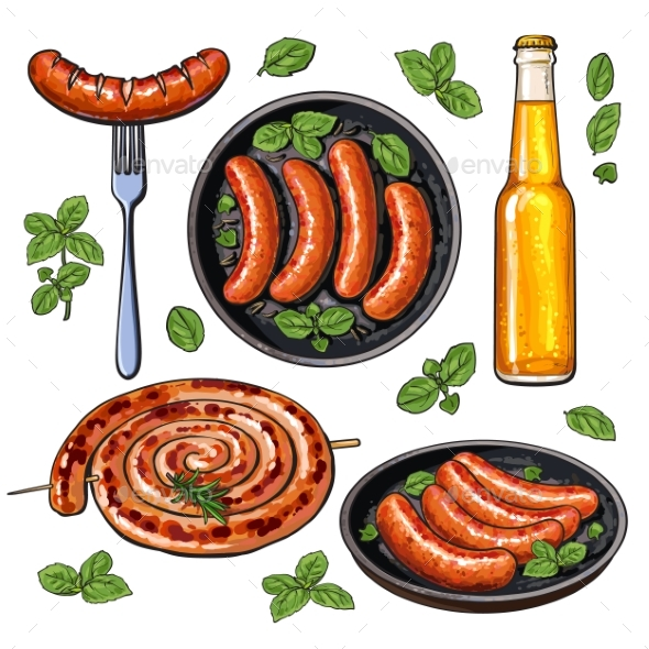 GraphicRiver Beer and Sausages Big Set of Barbeque Party Food 20680663