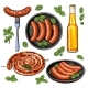 Beer and Sausages, Big Set of Barbeque Party Food