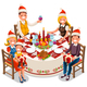 Christmas Dinner Party Vector Illustration