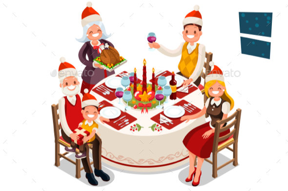 GraphicRiver Christmas Eve Family Dinner Party 20680751