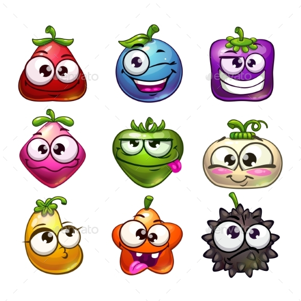 GraphicRiver Cartoon Fruit and Berry Characters Set 20680762