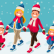 Christmas Family Photo Isometric People Vector