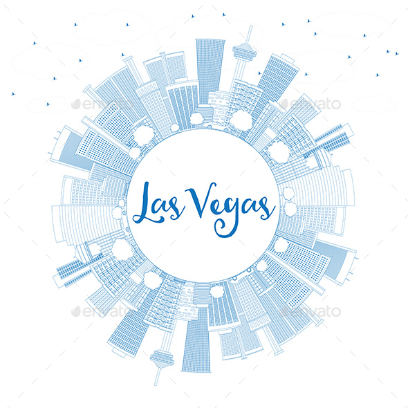 Outline Las Vegas Skyline with Blue Buildings and Copy Space - Buildings Objects