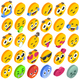 Emoji Set Emoticon Reactions Social Button Vector