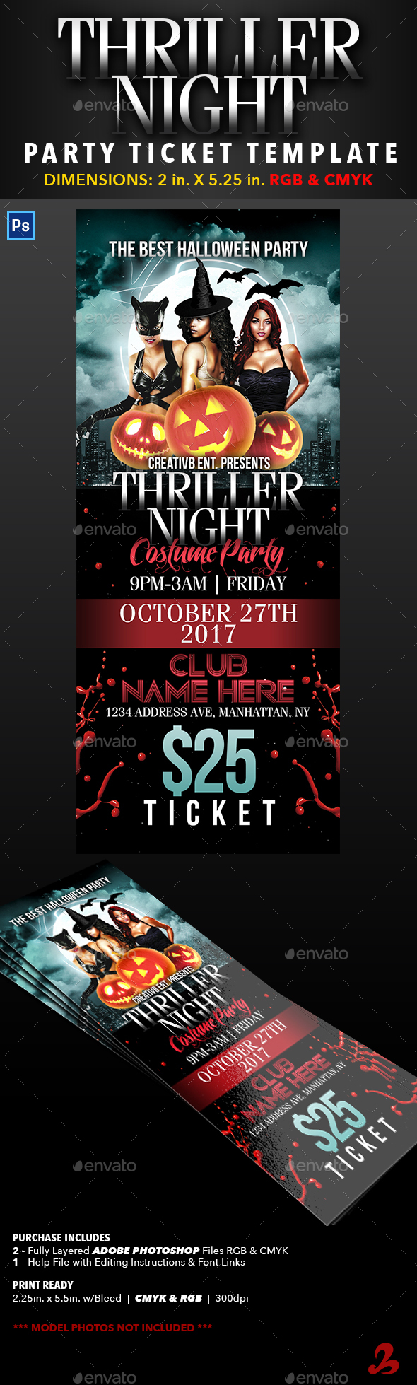 Thriller Night Halloween Party Ticket Template - Events Flyers