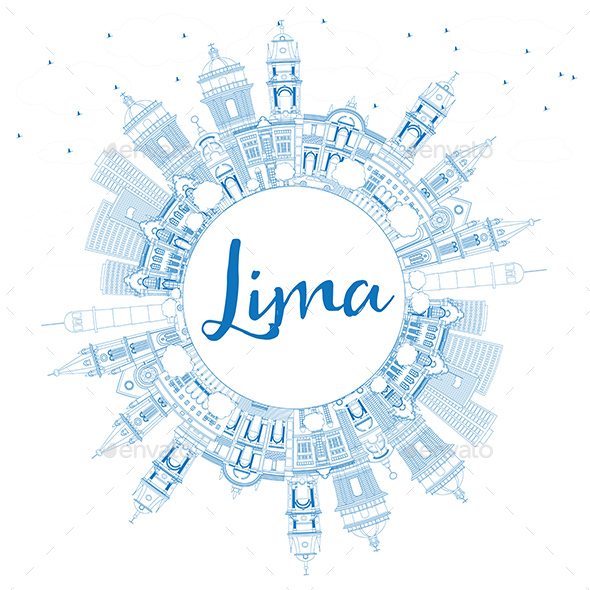 Outline Lima Skyline with Blue Buildings and Copy Space - Buildings Objects