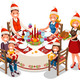 Family Holiday Dinner Party Illustration - GraphicRiver Item for Sale