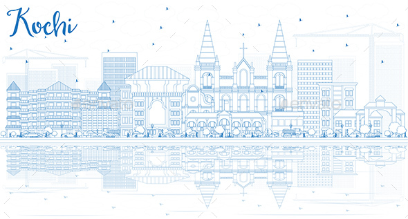 Outline Kochi Skyline with Blue Buildings and Reflections - Buildings Objects