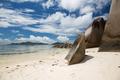rocks on seychelles island beach in indian ocean