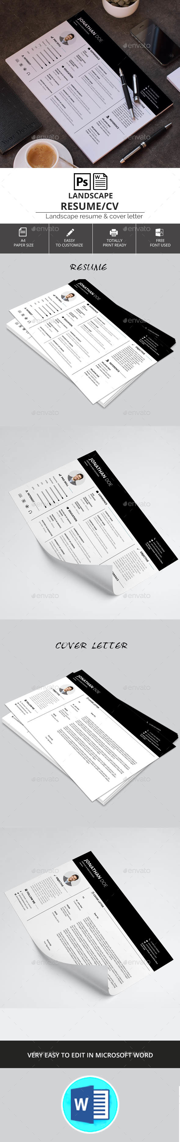 Landscape Resume/CV - Resumes Stationery