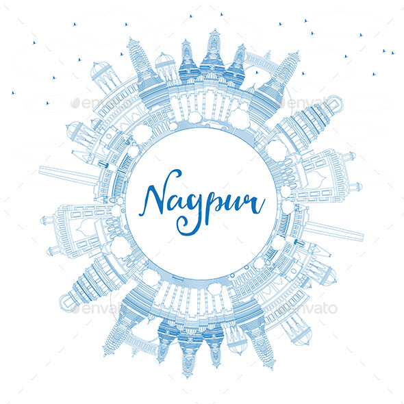 Outline Nagpur Skyline with Blue Buildings and Copy Space - Buildings Objects