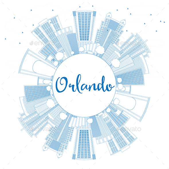 GraphicRiver Outline Orlando Skyline with Blue Buildings and Copy Space 20681179