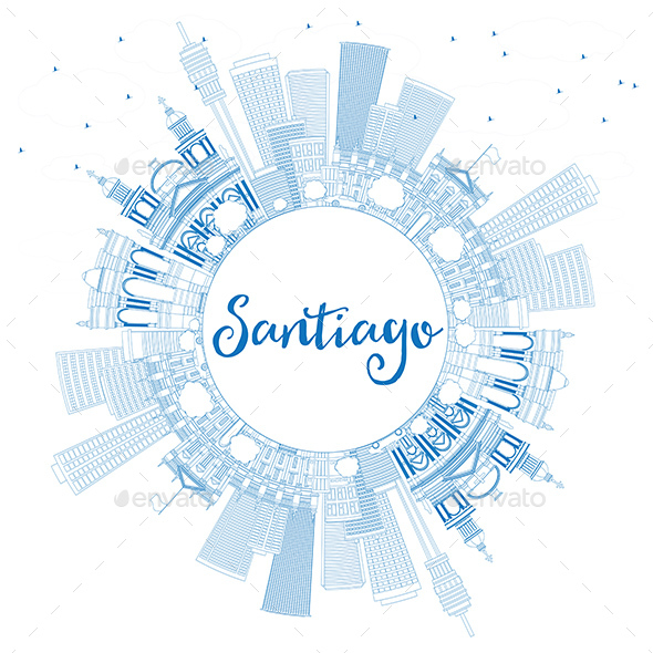 GraphicRiver Outline Santiago Chile Skyline with Blue Buildings and Copy Space 20681206