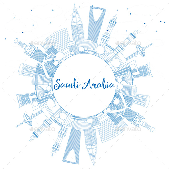 GraphicRiver Outline Saudi Arabia Skyline with Blue Landmarks and Copy Space 20681223