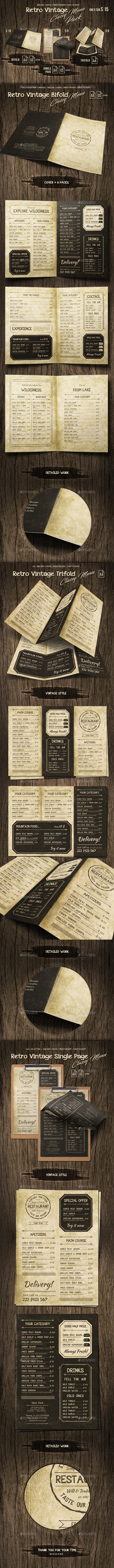 GraphicRiver Retro Vintage Classy Menu Bundle 20681361