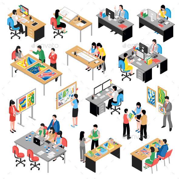 Development Company Isometric Icons Set - People Characters