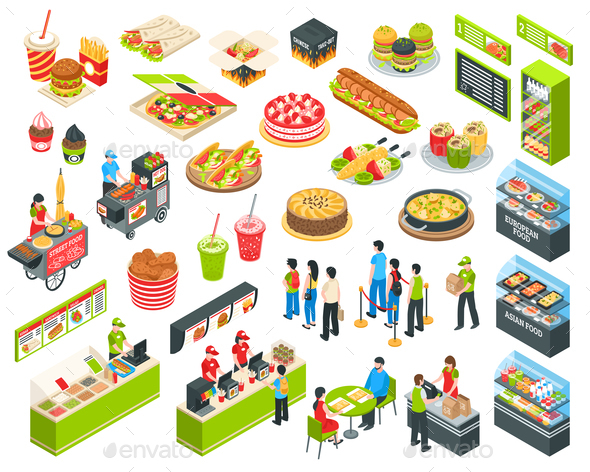 GraphicRiver Fast Food Isometric Court Set 20681449