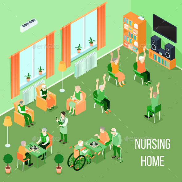 Nursing Home Care Interior Isometric - Health/Medicine Conceptual