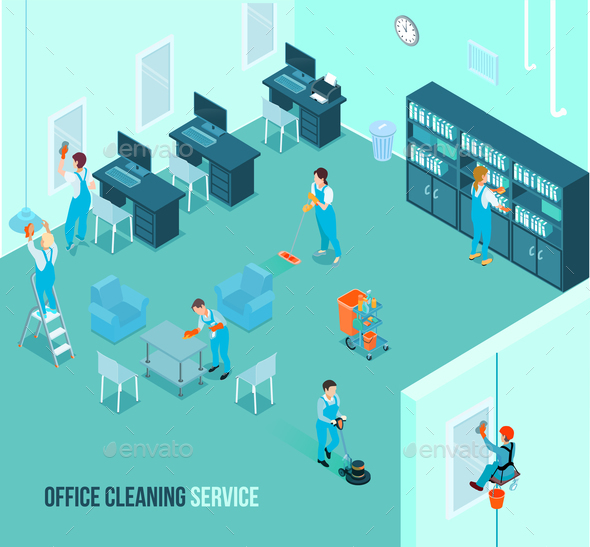 Professional Office Cleaning Service Isometric - Services Commercial / Shopping