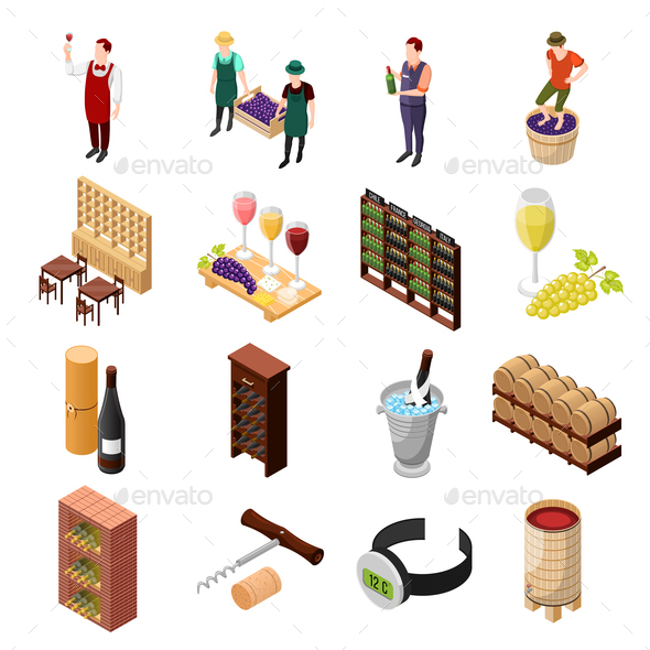 Wine Isometric Icon Set