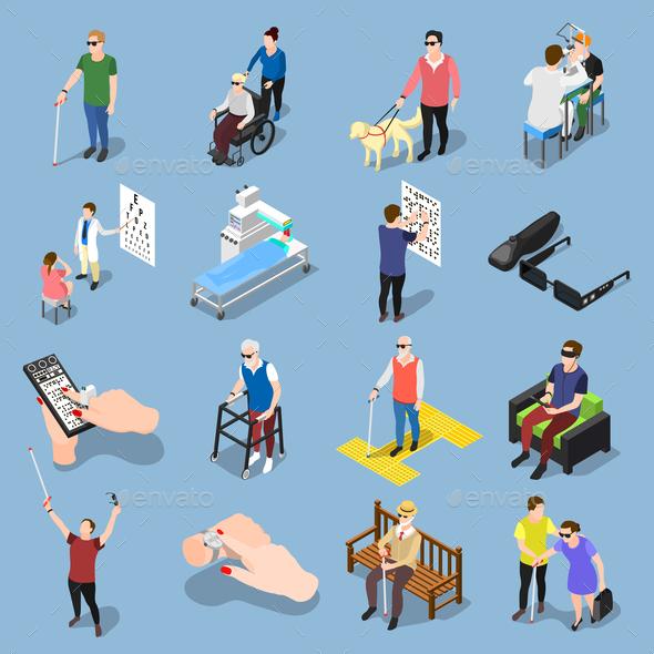 Blind People Icon Set - Health/Medicine Conceptual