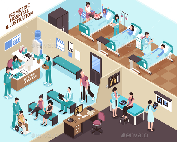 Hospital Isometric Illustration - Health/Medicine Conceptual