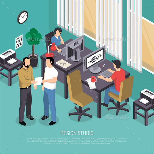 Design Studio Isometric Illustration - Concepts Business