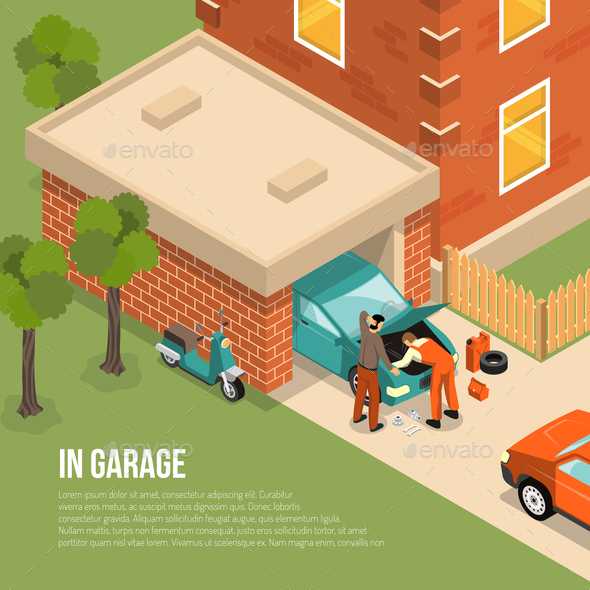 Garage Outside Isometric Illustration - People Characters